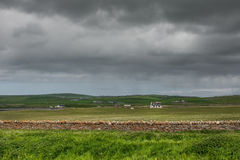 Landscape of meadows and farms at Skara Brae. Royalty Free Stock Image