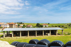 Landscape of meadows with several farms in Cantabria, Spain Stock Photo