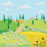 Landscape of meadows, sheep and harvesting crops Stock Photography