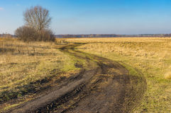 Landscape with meandering earth road Royalty Free Stock Photo