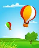 Landscape med ballongen och en tree Arkivbild