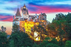 Landscape with medieval Bran castle known for the myth of Dracula at sunset. Brasov landmark, Transylvania, Romania, Europe stock photos