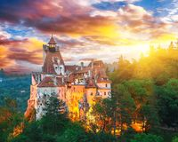 Landscape with medieval Bran castle known for the myth of Dracula at sunset. Brasov landmark, Transylvania, Romania, Europe stock images