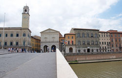 Landscape of medieval quarter of Pisa, Italy Royalty Free Stock Images