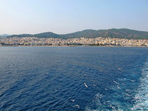 Landscape of the Mediterranean city of Kavala with seagulls Royalty Free Stock Image