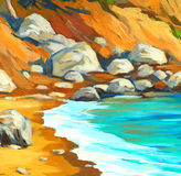 Landscape of mediterranean sea with a beach and  bay, painting b Stock Images