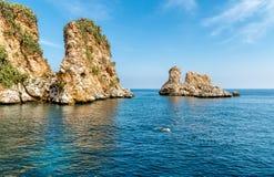 Landscape of Mediterranean sea with Faraglioni of Scopello at Zingaro Nature Reserve, Sicily royalty free stock photo