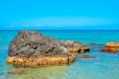 Landscape of the Mediterranean Sea in Ibiza Island, Spain Royalty Free Stock Photography