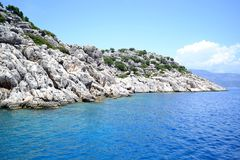 The landscape of the Mediterranean sea. Rocky landscape, near the island of Kekova in the Mediterranean sea of Turkey. Photo taken on:  May 27 Tuesday, 2014 Royalty Free Stock Photo