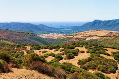 Landscape and Mediterranean Sea Teulada Cagliari Sardinia island. Landscape and the Mediterranean Sea in Teulada, Cagliari province, Sardinia island, in Italy stock photo