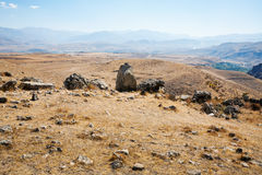 Landscape with megalithic monument in Armenia Stock Image