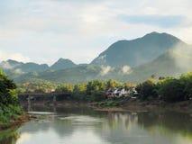 Landscape of the Mekong river and impressive hills in Luang Prabang stock image