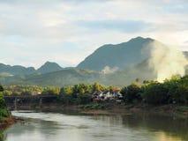 Landscape of the Mekong river and impressive hills in Luang Prabang stock images