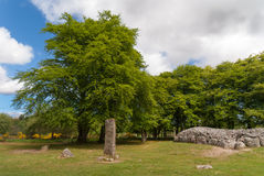 Landscape of Menhir and grave site at Clava Cairns. Stock Photography
