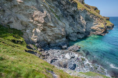 Landscape of Merlin Caves, Tintagel, Cornwall. Rugged coastline on the Atlantic Ocean Stock Photo