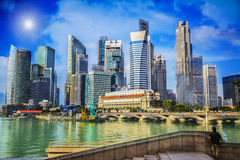 Landscape of the Merlion. And Singapore financial district Stock Photography