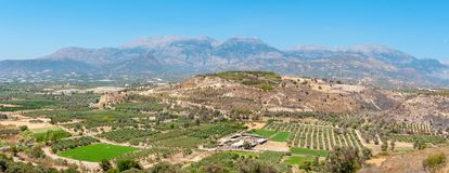 Landscape of Messara plain. Crete, Greece royalty free stock image