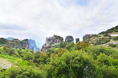 Landscape of Meteora Greece - old monasteries stock images