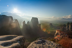 Landscape of Meteora mountains and monastery Stock Photography