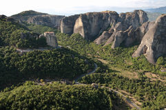 Landscape Of Meteora Rocks And Monastery Royalty Free Stock Photography