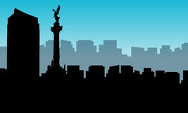 Landscape of Mexico city silhouettes stock illustration