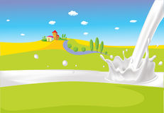 Landscape with milk river - vector milk splash Royalty Free Stock Photos