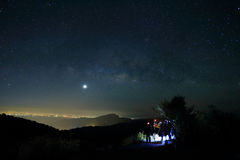 Landscape of Milky Way beautiful sky on Doi Inthanon Chiangmai Stock Photo