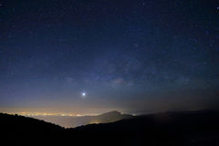 Landscape of Milky Way beautiful sky on mountain Stock Photo