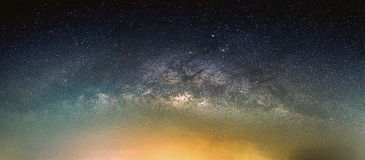 Landscape with Milky way galaxy. Night sky with stars Royalty Free Stock Photography