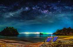 Landscape with Milky way galaxy. Night sky with stars. And sea Stock Images