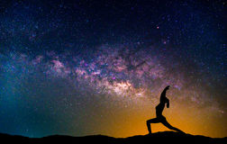 Landscape with Milky way galaxy. Night sky with stars and silhou Stock Images