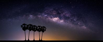 Landscape with Milky way galaxy. Night sky with stars and silhou Royalty Free Stock Images