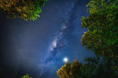 Landscape with Milky way galaxy. Night sky with stars and silhou Stock Image