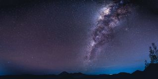 Landscape with Milky way galaxy over Mount Bromo volcano Gunung Stock Images
