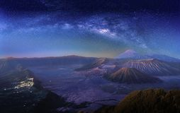 Landscape with Milky way galaxy over Mount Bromo volcano Gunung royalty free stock images
