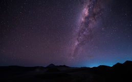 Landscape with Milky way galaxy over Mount Bromo volcano Gunung Stock Image