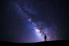 Landscape with milky way galaxy, Starry night sky with stars and stock photography
