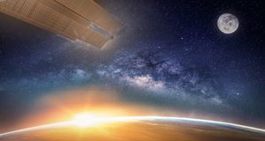 Landscape with Milky way galaxy. Sunrise, Earth, moon. And satellite view from space with Milky way galaxy. Elements of this image furnished by NASA Stock Images