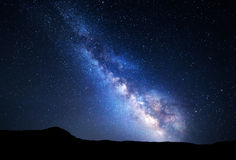 Landscape with Milky Way. Night sky with stars at mountains Royalty Free Stock Photos