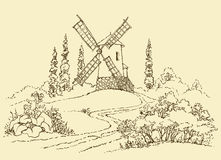 Landscape with a Mill vector illustration