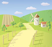 Landscape with mill. Sunny summer landscape with mill Stock Image