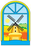 Landscape_mill_window Royalty Free Stock Images