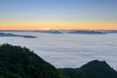 Beautiful Landscape and the Mist in the Morning in Thailand Royalty Free Stock Photography