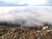 Landscape in the Mist. View of the landscape in the mist, the Czech Republic Stock Photo