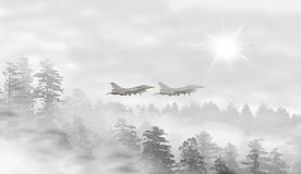 Landscape of misty forest at sunrise. Fighter jets taking off - concept of mystery Royalty Free Stock Images