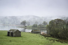 Landscape on misty morning of fields around Lake Windermere in L Stock Photos
