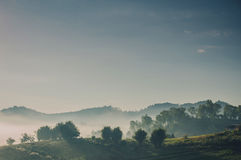 Landscape of misty mountain in forest hills royalty free stock image