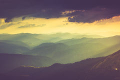 Landscape of misty mountain hills in spring. Royalty Free Stock Photos