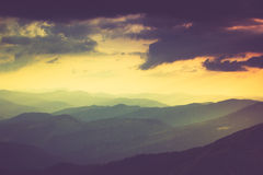 Landscape of misty mountain hills in spring. Royalty Free Stock Images