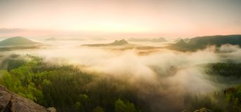 Landscape misty panorama. Fantastic dreamy sunrise above fairy  misty valley Stock Photo